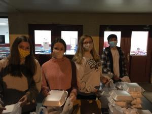 WHS Leo Club working the Waskom Lions Club Spaghetti Supper