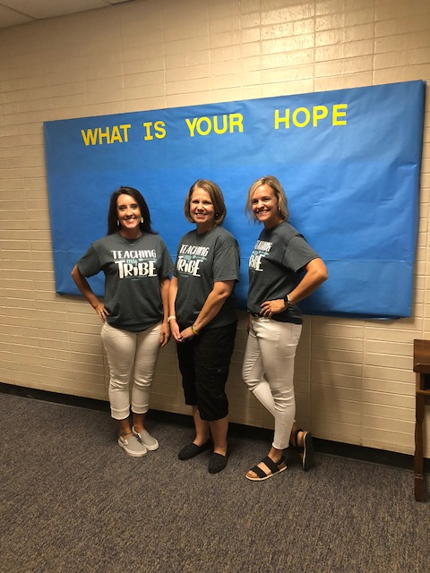 Hs teachers Shoaf, Knowles, and Dowler on 1st day of class