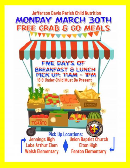 Jefferson Davis Parish Child Nutrition Updated Flyer 3-26-2020