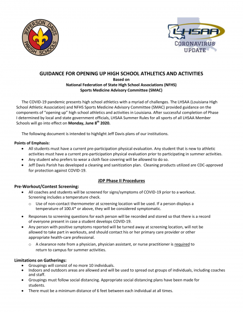 Guidance for Athletics and Activities