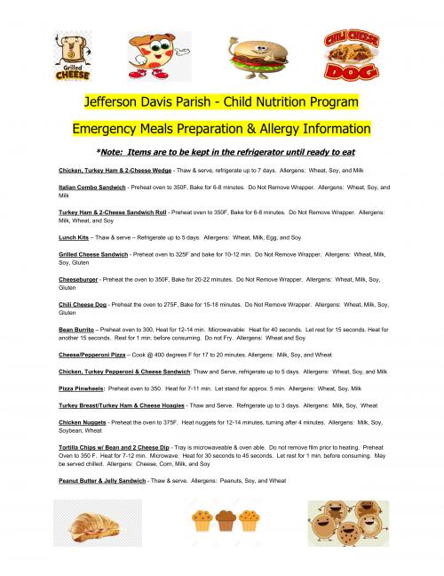 Jefferson Davis Parish Food Program Preparation Instructions and Allergen Information