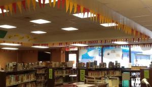 Bragging about our books by hanging flags!