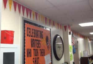 Hanging Pennants to show our Reading Pride.....