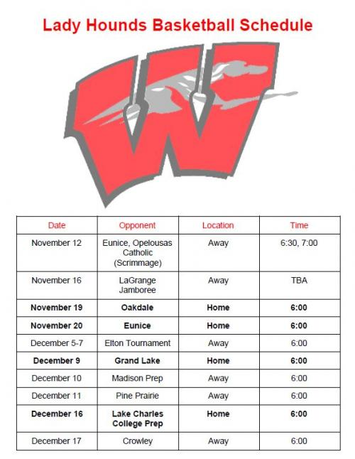 Lady Hounds schedule page 1