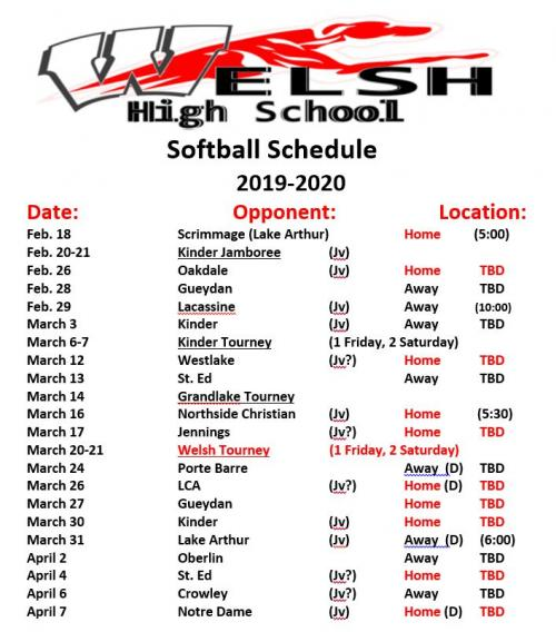 WHS Softball Schedule