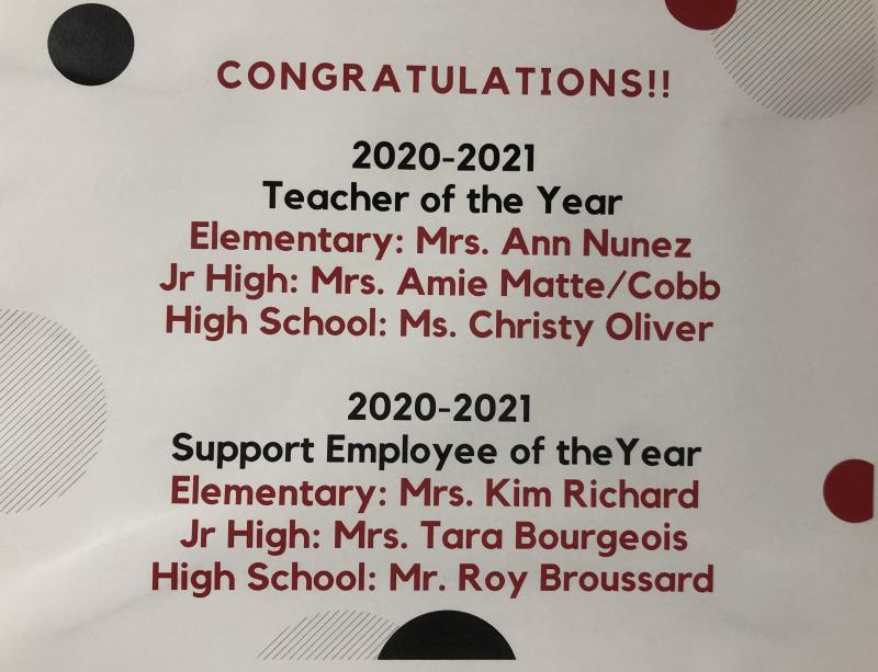 2020-2021 Teacher and Support Emplyee of the Year!