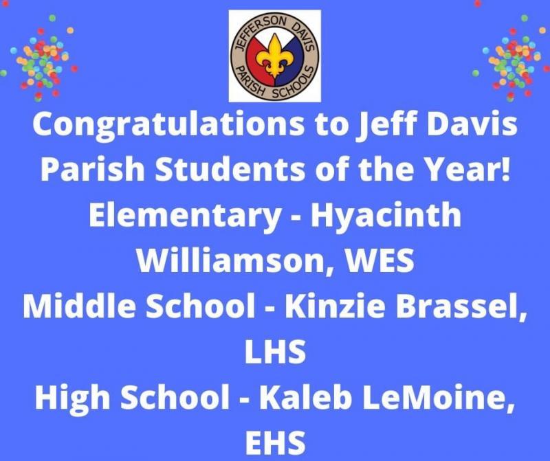 Jefferson Davis Parish Students of the Year!