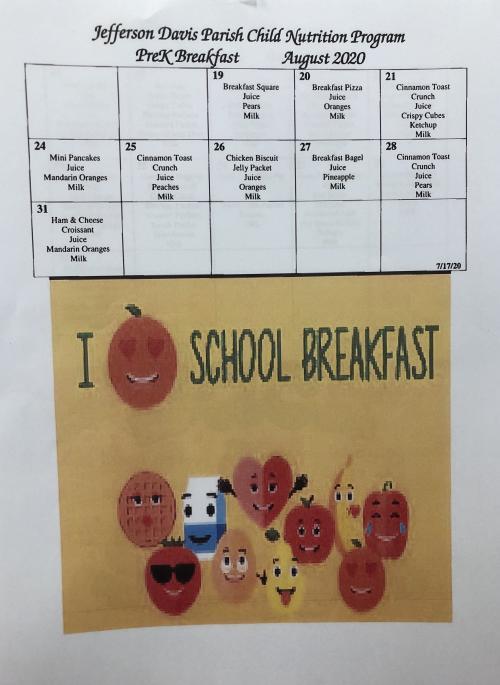 August Menu- PreK Breakfast