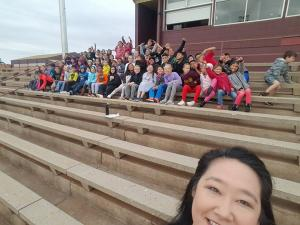 2017 Marching Competition 3rd grade cheering Clinton High School Band!