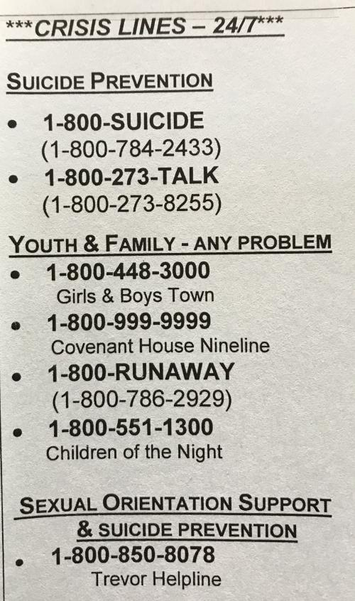 Crisis Hotline Phone Numbers 1