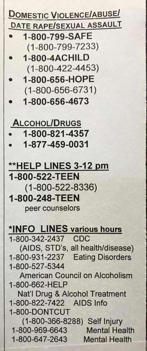 Crisis Hotline Phone Numbers 2