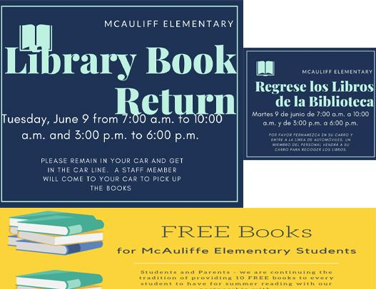 McAuliffe Student Material Pick Up/Book Return set June 9