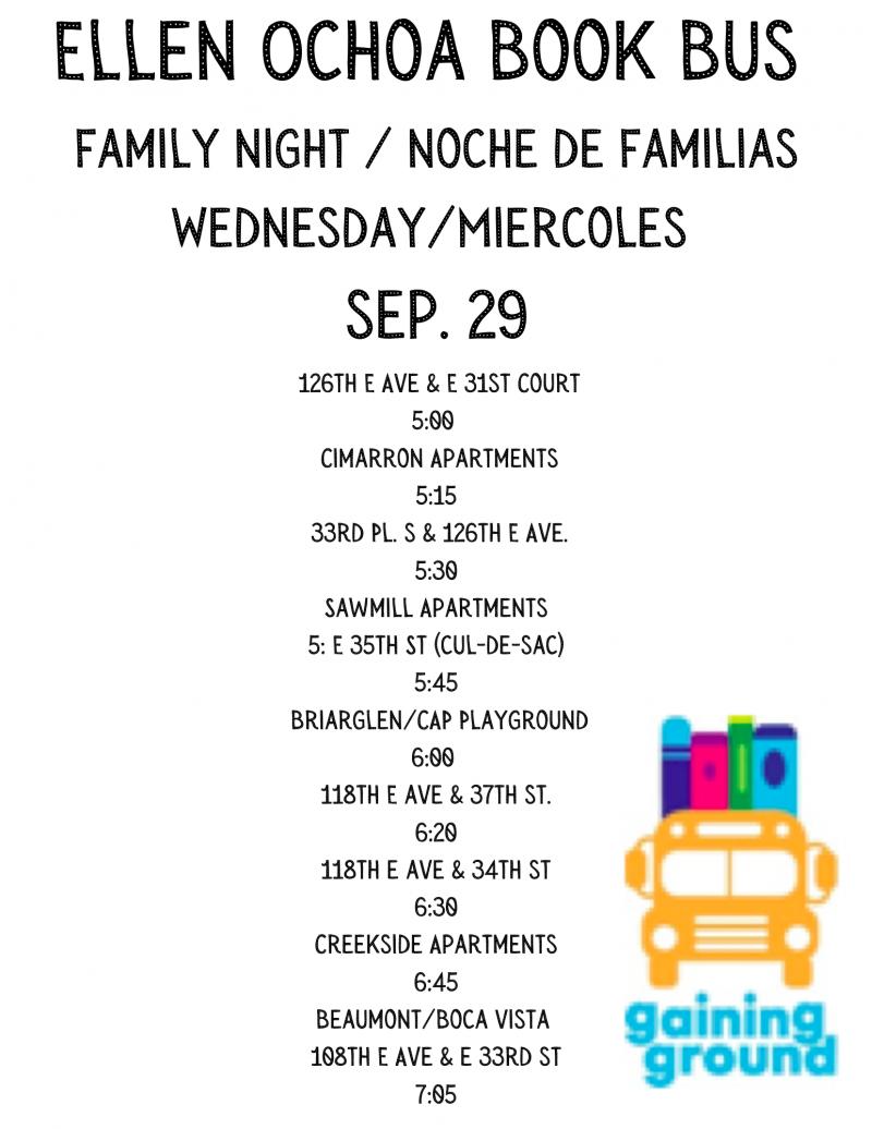 Book Bus To Visit Ellen Ochoa Neighborhood Sept. 29