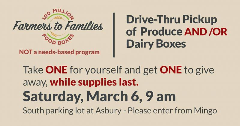 Farmers to Families Food Distribution This Saturday at Asbury
