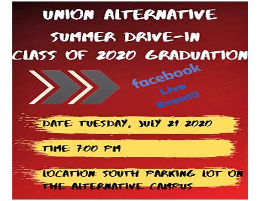 Union Alternative Drive-In Graduation Ceremony Planned July 21