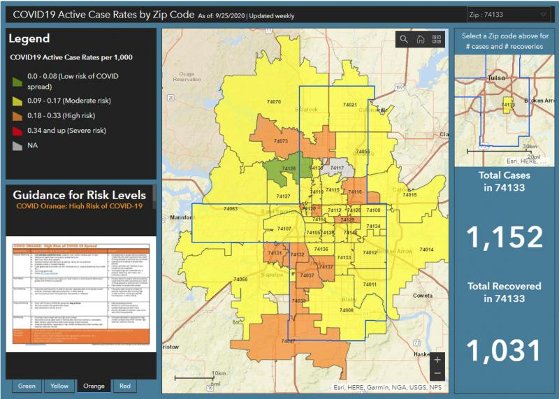Tulsa County Map Tracks COVID-19 Cases by Zip Code