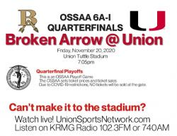 Ticket Information for Union Vs B.A. Football Game; Tickets on Sale Wednesday