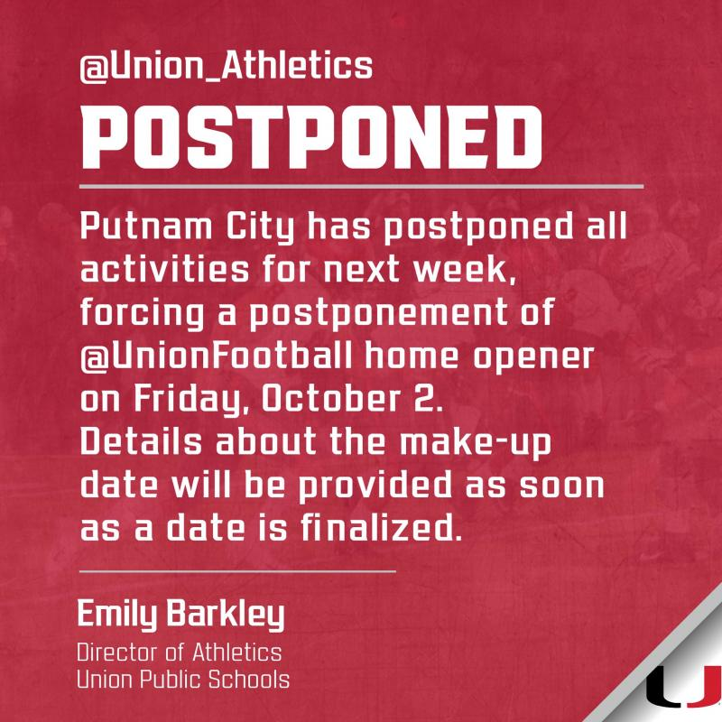 Putnam City Postpones Union's Planned Homecoming Game