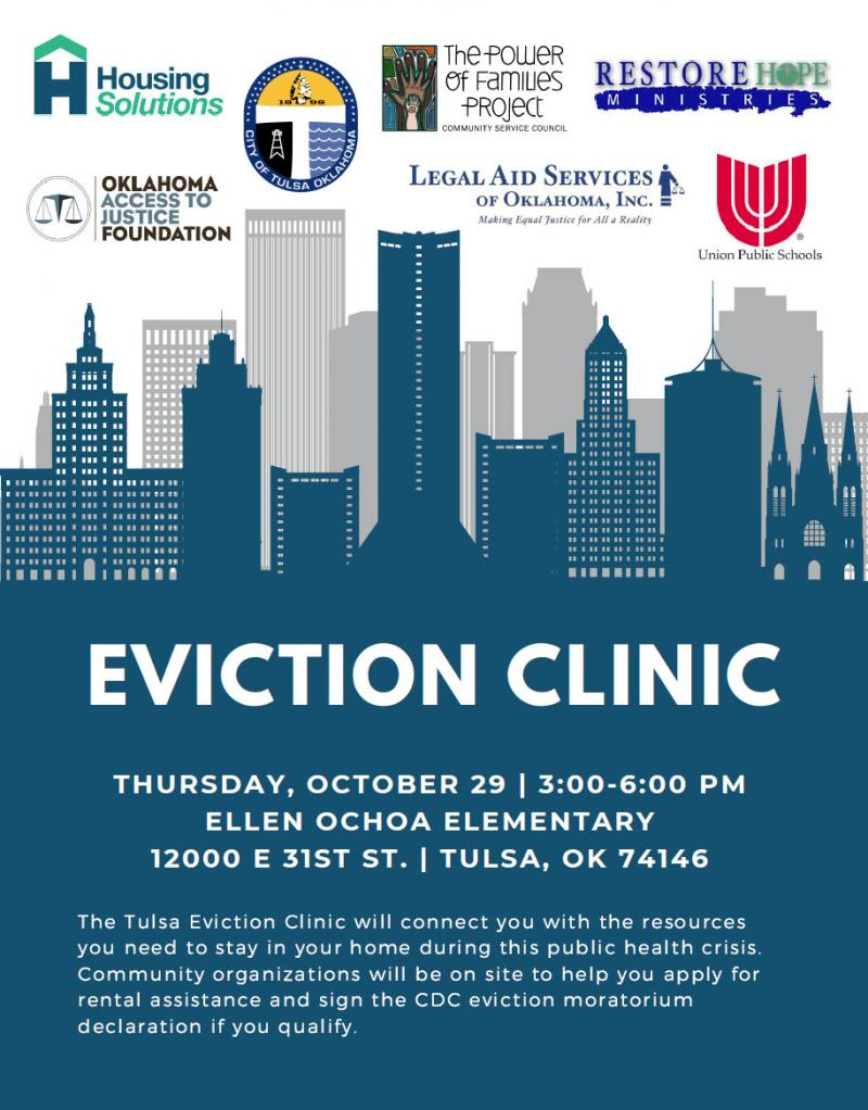 Tulsa Eviction Clinic set Thursday, Oct. 29 at Ellen Ochoa Elementary
