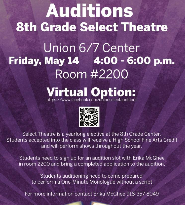 Auditions For 8th Grade Select Theatre Set May 14