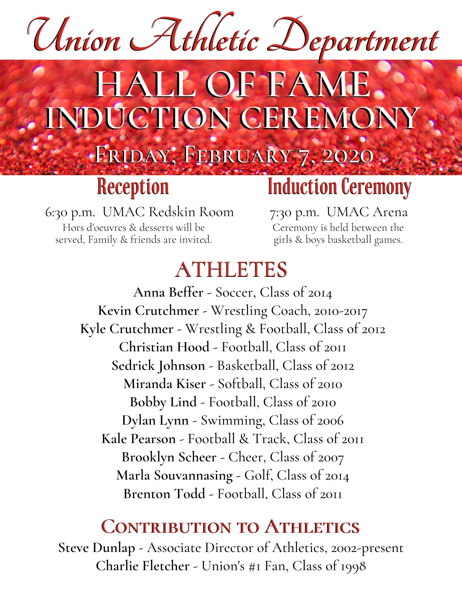 UNION ATHLETIC DEPARTMENT ANNOUNCES 2019 HALL OF FAME CLASS!