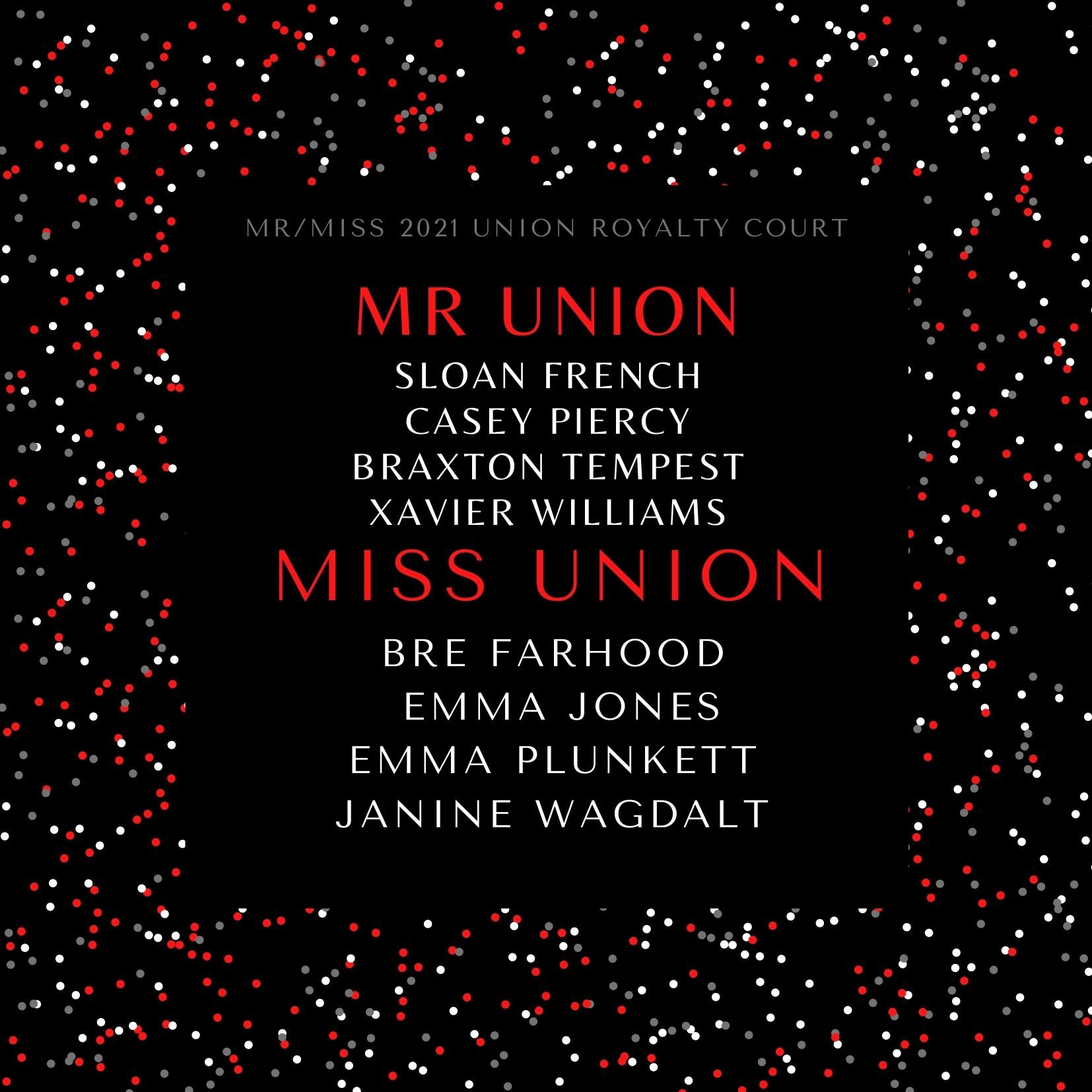 The annual Mr. and Miss Union Coronation will take place Friday morning, February 19 as a streaming event at the High School.   Mr. Union candidates are Sloan French, Casey Piercy, Braxton Tempest and Xavier Williams. Miss Union Candidates are Bre Farhood, Emma Jones, Emma Plunkett and Janine Wagdalt.