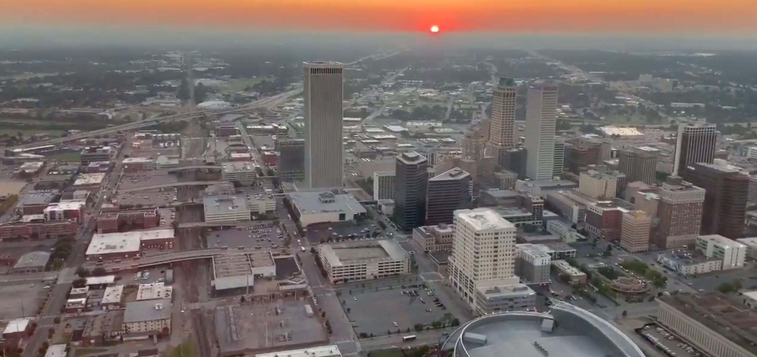 Screenshot from video of Mayor G.T. Bynum's flyover of downtown Tulsa on Sept. 18 or as we call it 918 Day.