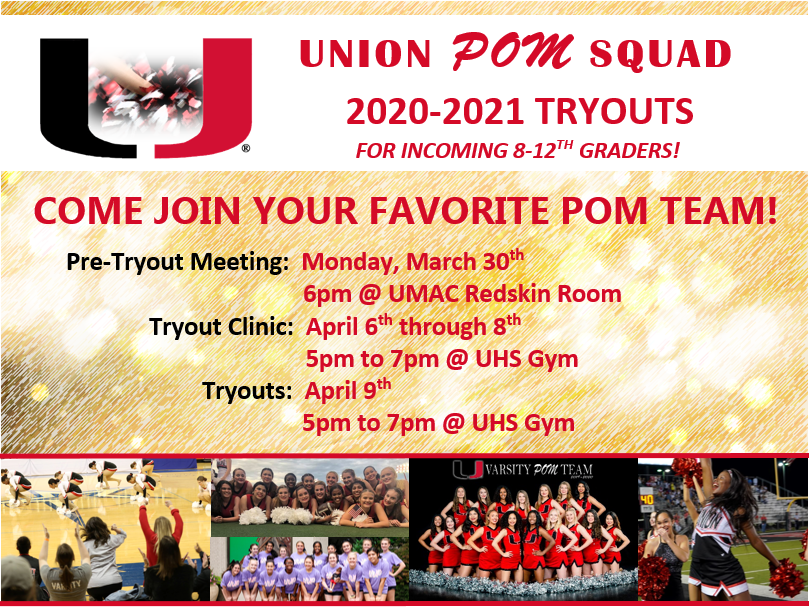 Tryouts are right around the corner and we are so excited!!! Let's make this YOUR BEST year yet!! Come join UNION POM!! #teamwork #friendships #footballgames #dance