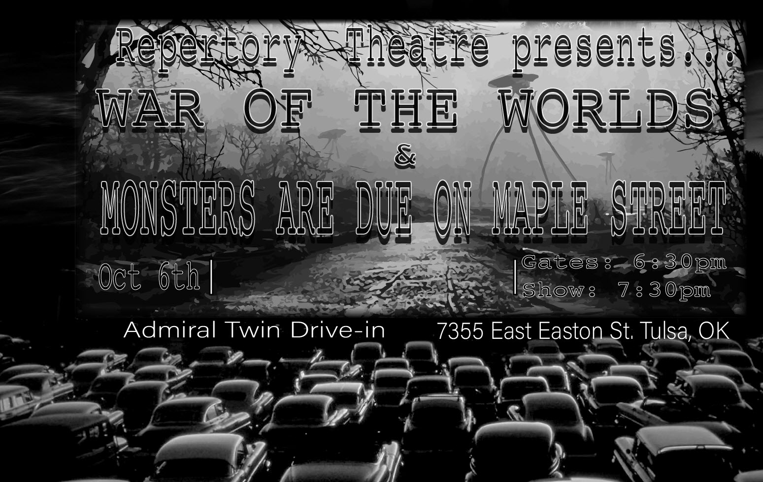 "Union High School Repertory Theatre to present a double-feature show at Admiral Twin Drive-In Tuesday, Oct. 6  For the first time, the Union High School Repertory Theatre will present a double feature show at the Admiral Twin Drive-in, 7355 E. Easton St., on Tuesday, Oct. 6, featuring performances of ""War of the Worlds"" and ""Monsters Are Due on Maple Street.""  Gates will open at 6:30 p.m. and the movie will start at 7:30 p.m. Tickets are $5 for each person (not for the entire vehicle).  Union High School Repertory Theatre to present a double-feature show at Admiral Twin Drive-In Tuesday, Oct. 6  excited to record 'War of the Worlds' and 'Monsters are Due on Maple Street' to bring it to the Admiral Twin Drive in so that our audience can socially distance in their cars and still see their children perform,"" said Troy Powell, drama instructor at the High School.  Union's ""War of the Worlds"" will be a retelling of the famous 1938 radio drama that created some real-life panic when members of the public thought the alien invasion was real. ""The Monster are Due on Maple Street"" is a retelling of a famous 1960 ""Twilight Zone"" episode in which neighbors react to a mysterious power outage some believe to be caused by a meteor or maybe even aliens.  So expect a lot of fun with some A-movies by some A-list Union actors!"