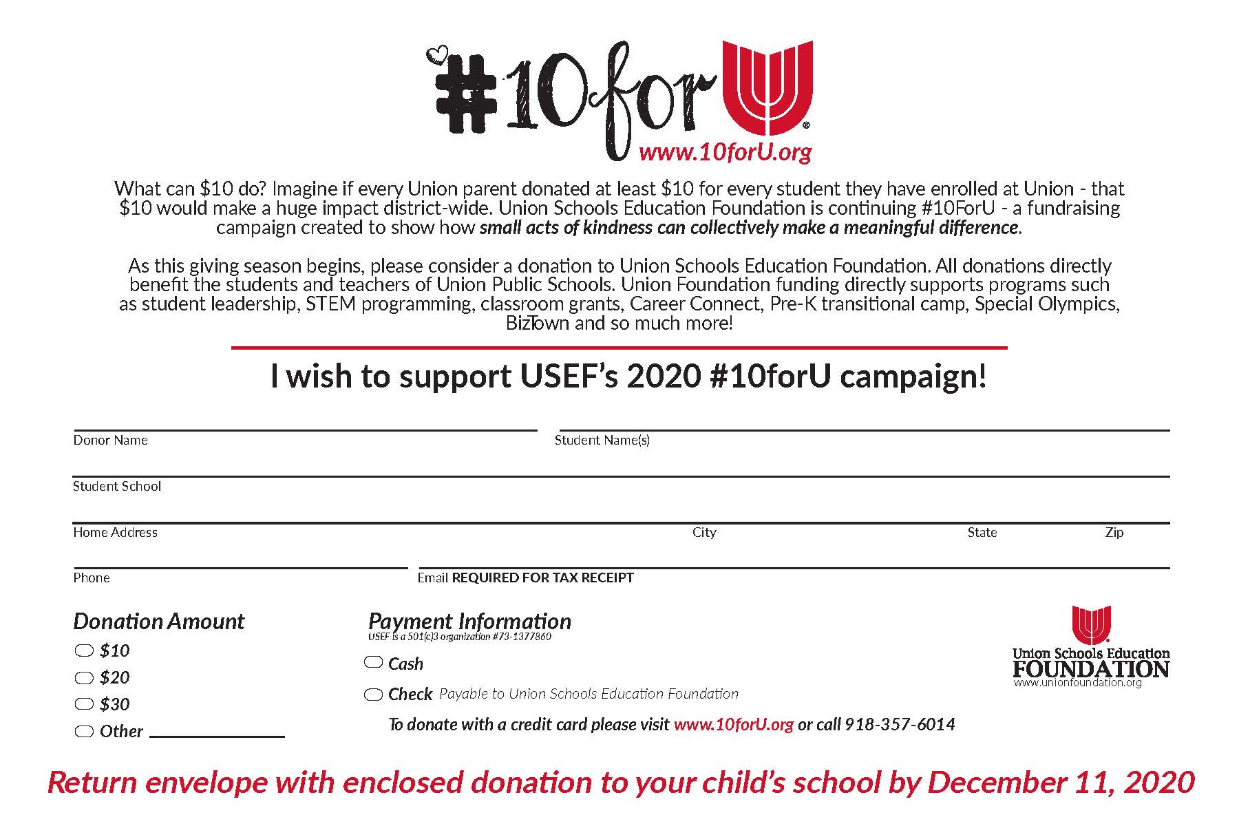 What can $10 do? Imagine if everyUnion Public Schoolsparent donated at least $10 for every student they have enrolled at Union - that $10 would make a huge impact district-wide. This #GivingTuesdayon December 1, Union Schools Education Foundation is launching our 3rd annual #10ForU drive - a fundraising campaign created to show how small acts of kindness can collectively make a meaningful difference