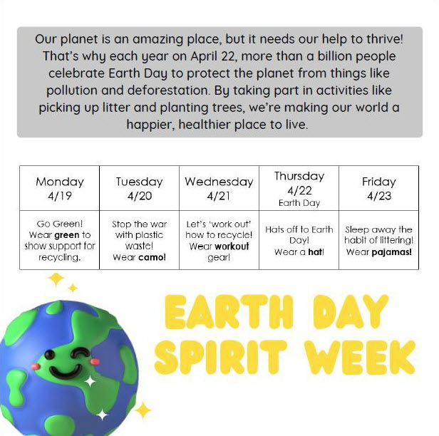 Boevers To Celebrate Earth Day Spirit Week