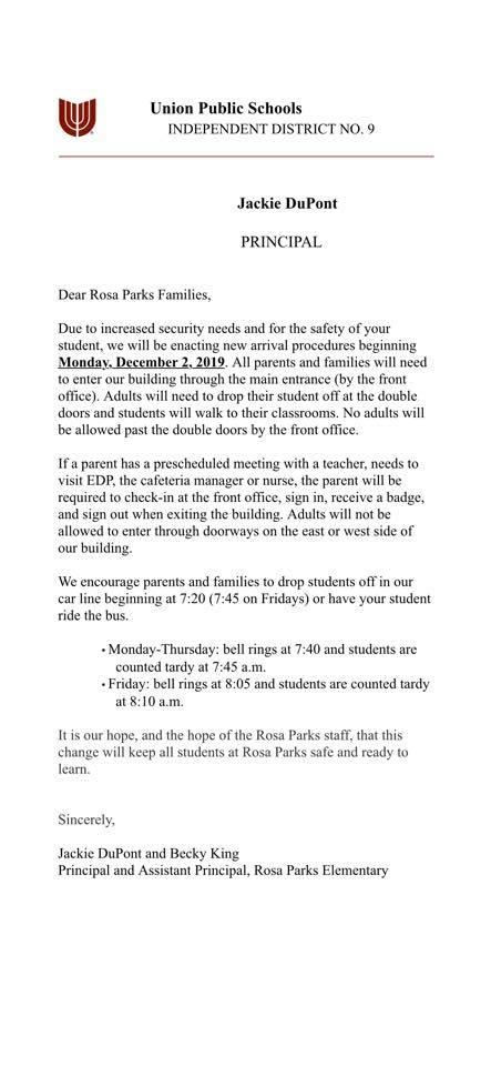 Please see the letter below regarding our new arrival procedures beginning on December 2. We hope these changes will allow your student to be safe and ready to learn each day!