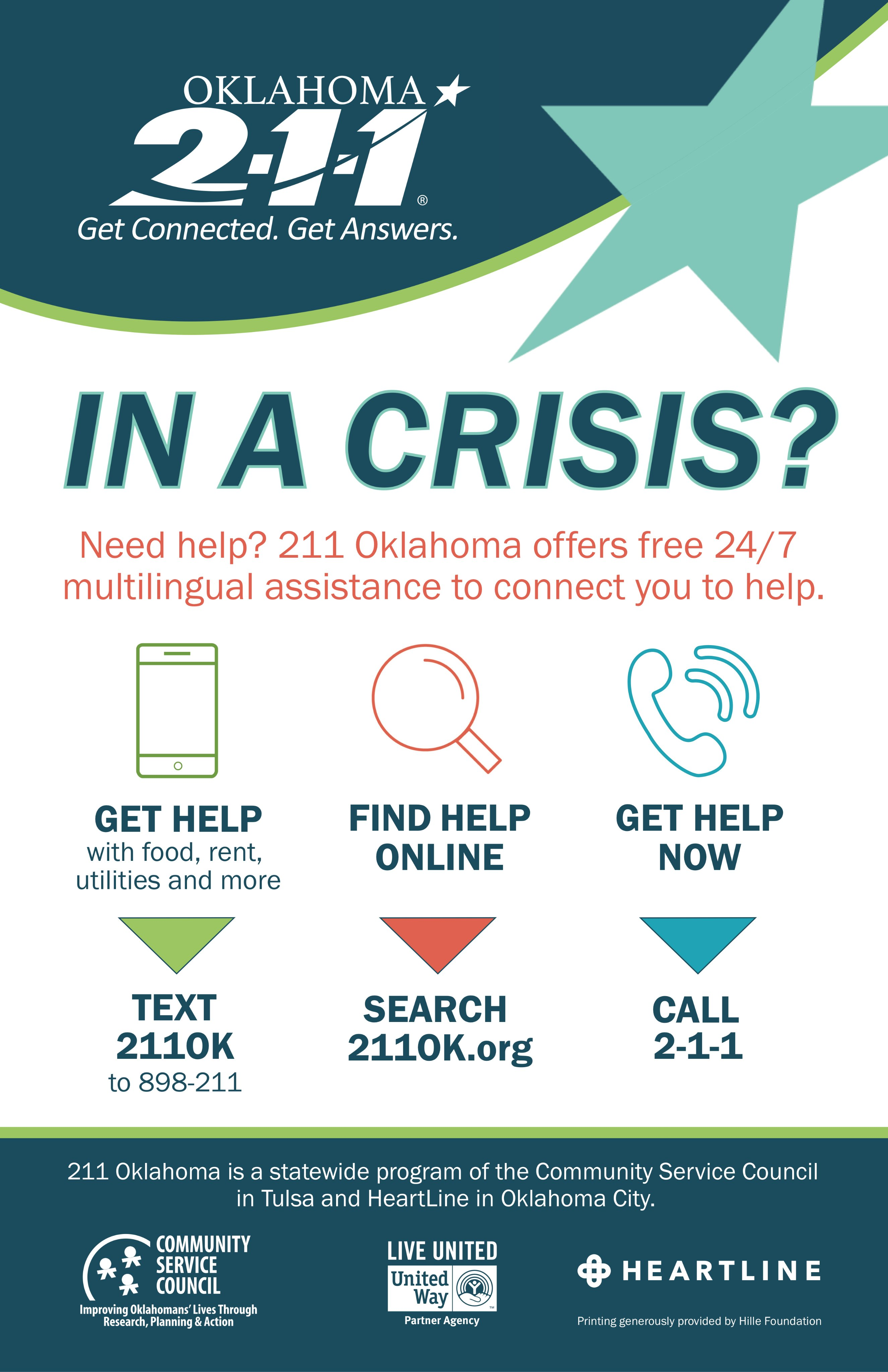 Need help? Oklahoma offers free 24/7 multilingual assistance to connect you to help.