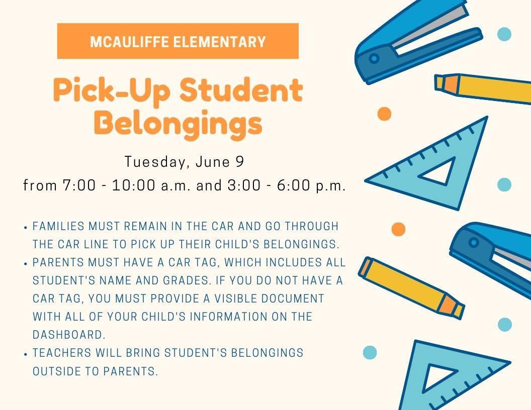 McAuliffe Student Pick-Up Set Tuesday, June 9.