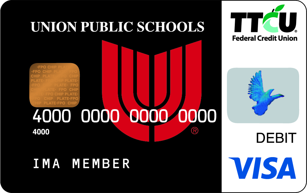 The TTCU School Pride® Visa Debit Card program began in 2007 as a way for TTCU to give back to area schools. TTCU members select from among 60 School Pride designs honoring area schools, and every time they use their debit card, TTCU makes a financial donation to the school. Over the past 14 years, TTCU's School Pride program has distributed more than $1.5 million to Oklahoma schools, and more than $100,000 has been donated to Union Public Schools, thus far.  How does one acquire a Union card? A TTCU checking account with a School Pride Visa debit card can be opened online or at any branch. The Union card can be chosen at that time. Visitwww.ttcu.com