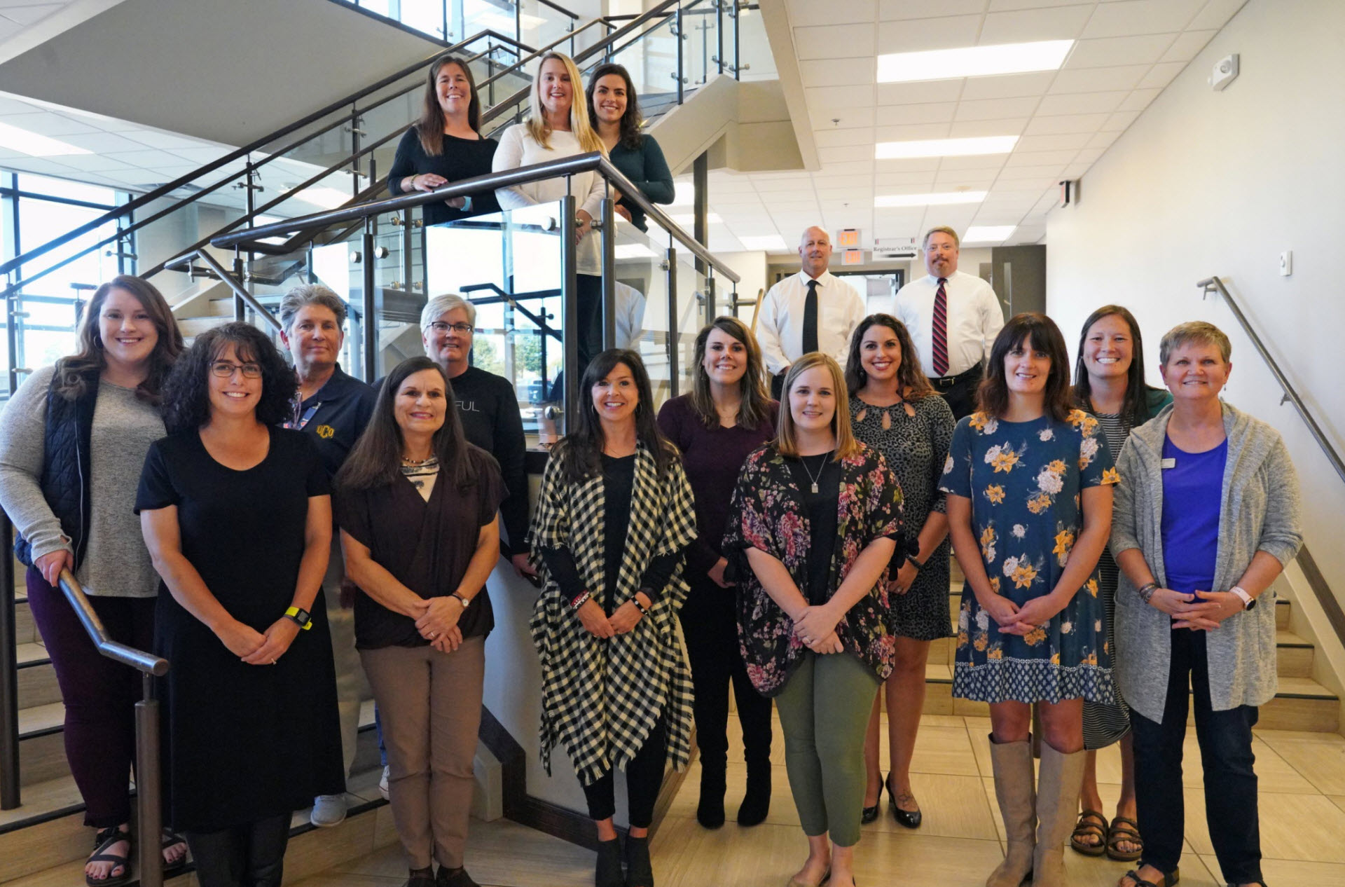 The 2019-2020 Site Teachers of the Year are: (pictured left to right) first row, Rebecca King, Kim Strom, Alisa Lee, Megan Nigam, Jeri Potter, Merry Lahti; second row; Kelsey Fallis, Deb Beattie, Angela Eakes, Mary Murray, Betty Collins, Lacey Dake; back rows, Heide Donalson, Tara Miller, Brittany Hamilton, Mike Fields, and Glenn Howard. Not pictured are Victoria Olsen, Melissa Speaker, and Lynnelle Winter.