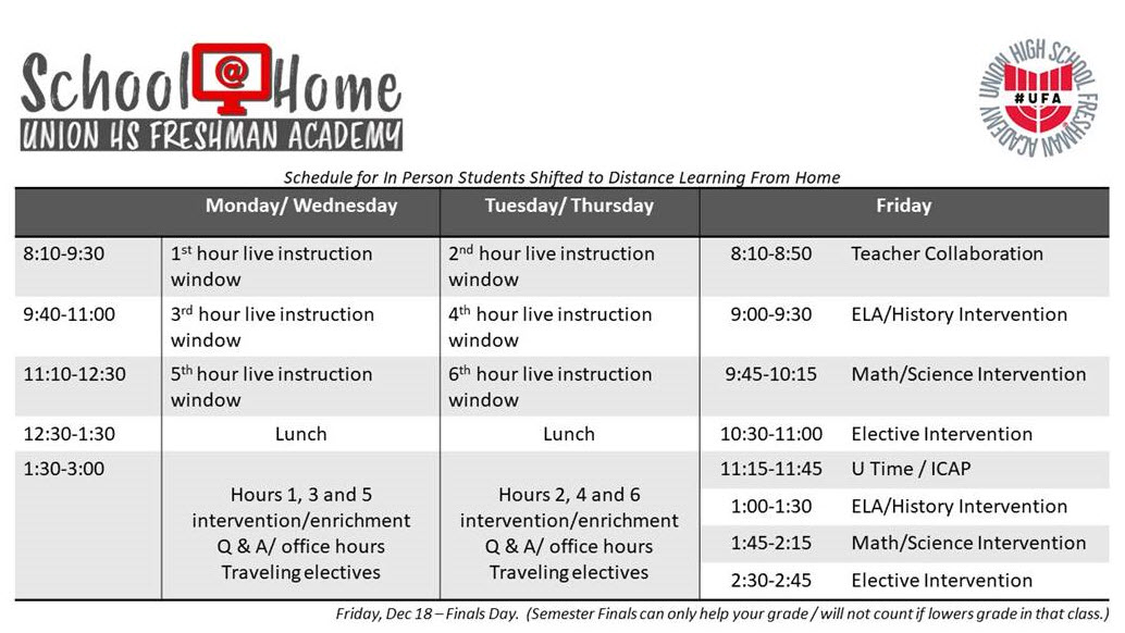 As In-Person students shift to district wide Distance Learning tomorrow, Dec 4 - please make sure your FRESHMAN student refers to the UFA School@Home Distance Learning Schedule as they must join live instruction on set days starting tomorrow. See the schedule below. Your student is receiving this from all teachers, is posted in UFA Hub on Canvas and went to their emails via an announcement. *this does not apply to virtual students.
