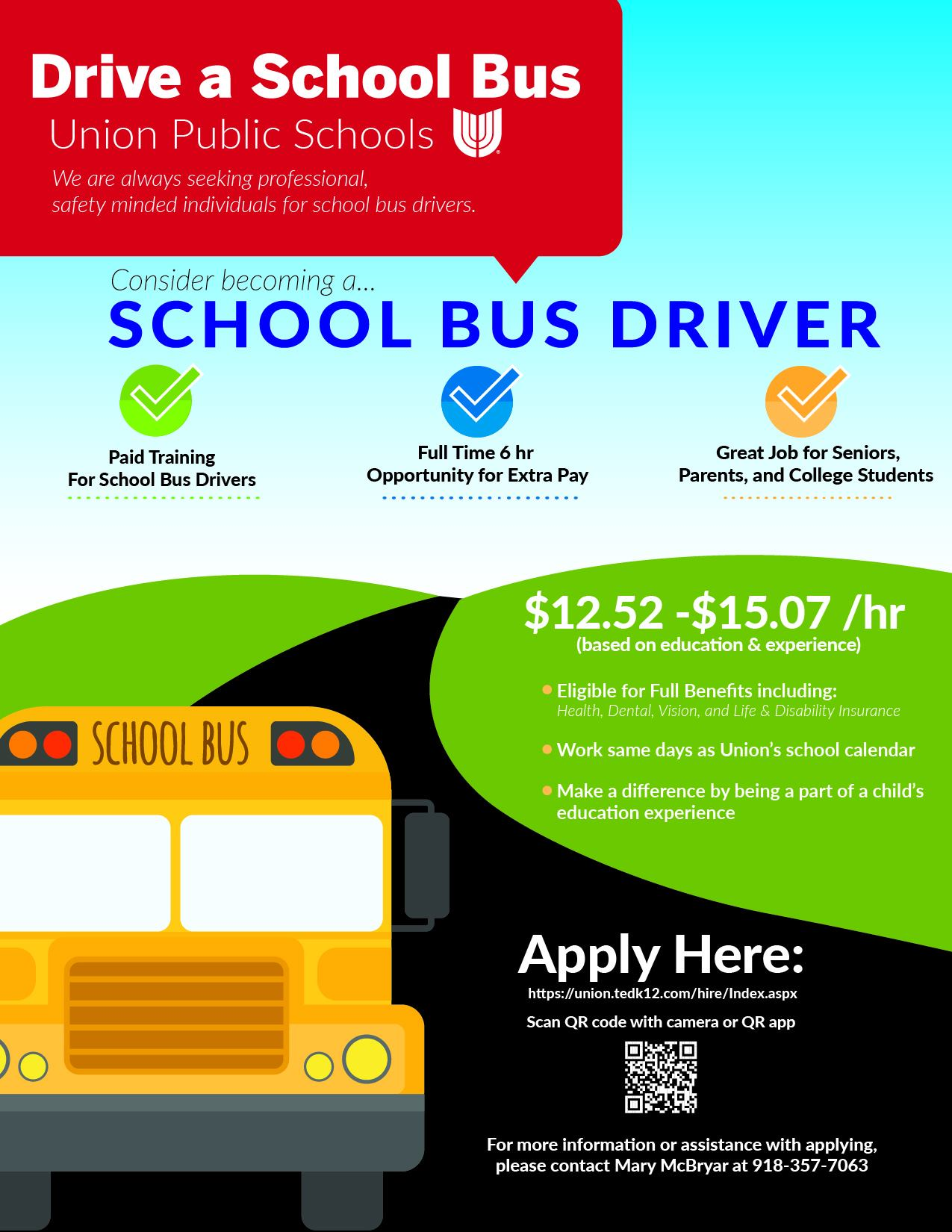 Drive a school bus for Union Schools!