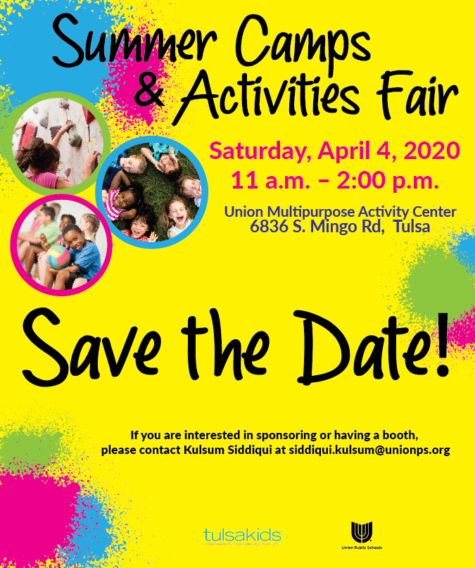 Save the date! The annual Summer Camps & Activities Fair will be Saturday, April 4. If you are interested in sponsoring or having a booth, please contact Union Community Schools Coordinator Kulsum Siddiqui at siddiqui.kulsum@unionps.org.