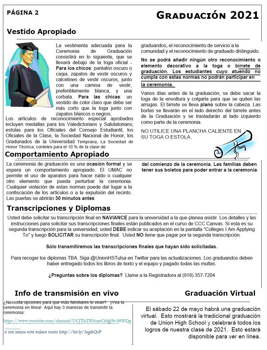 Boletín informativo para los estudiantes de último año y sus familias