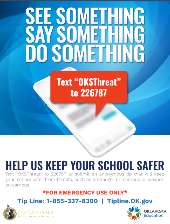 Students, teachers and staff can now report threats in Oklahoma schools via text message.