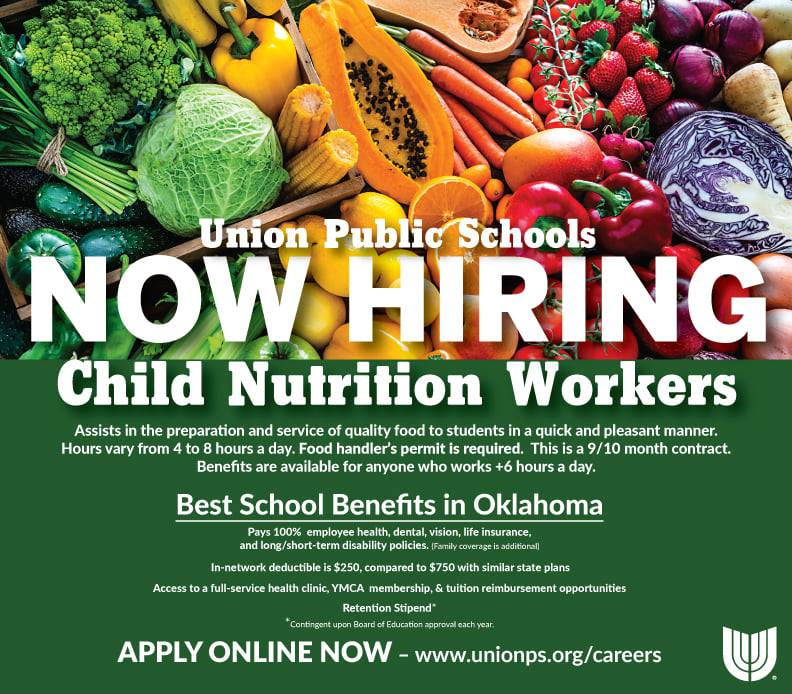 Union Public Schools is looking for Child Nutrition workers! We have fantastic benefits and various availability! Come work one of the best Child Nutrition departments in the US! Apply here: https://union.tedk12.com/hire/index.aspx