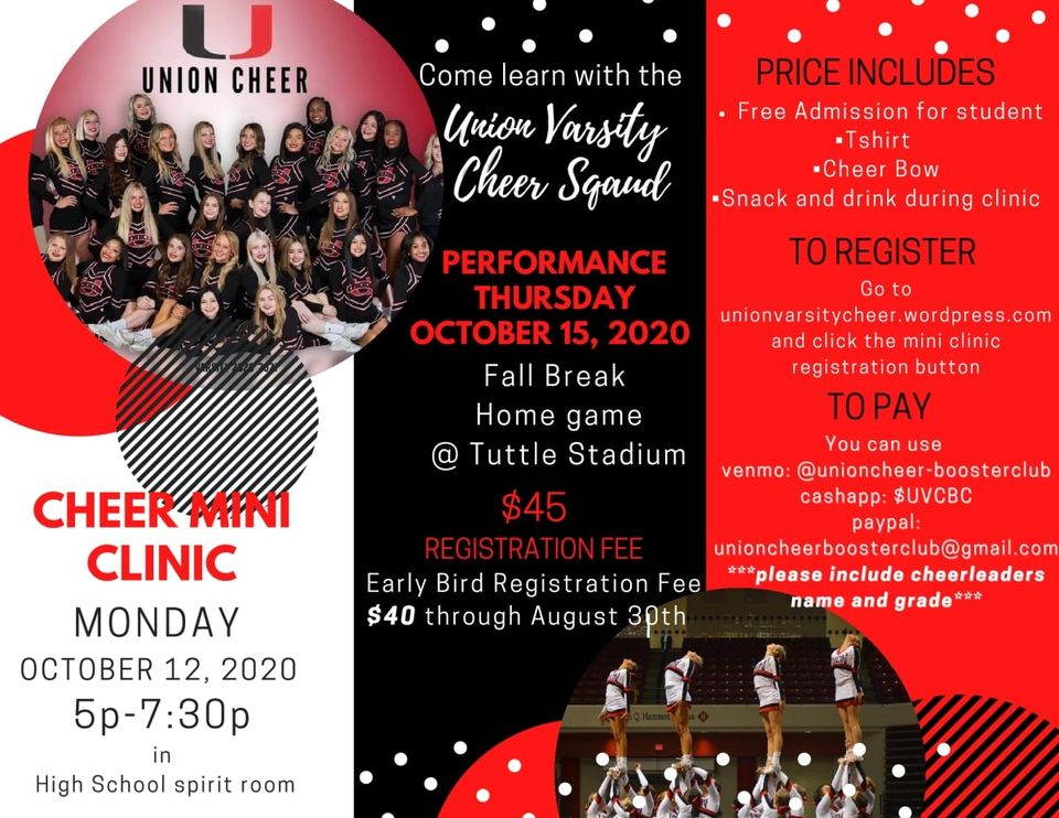 Tulsa Union Varsity Cheeris holding a Mini Cheer Clinic Monday Oct 12th - Registration is still open - see the graphic for details!#RepTheU