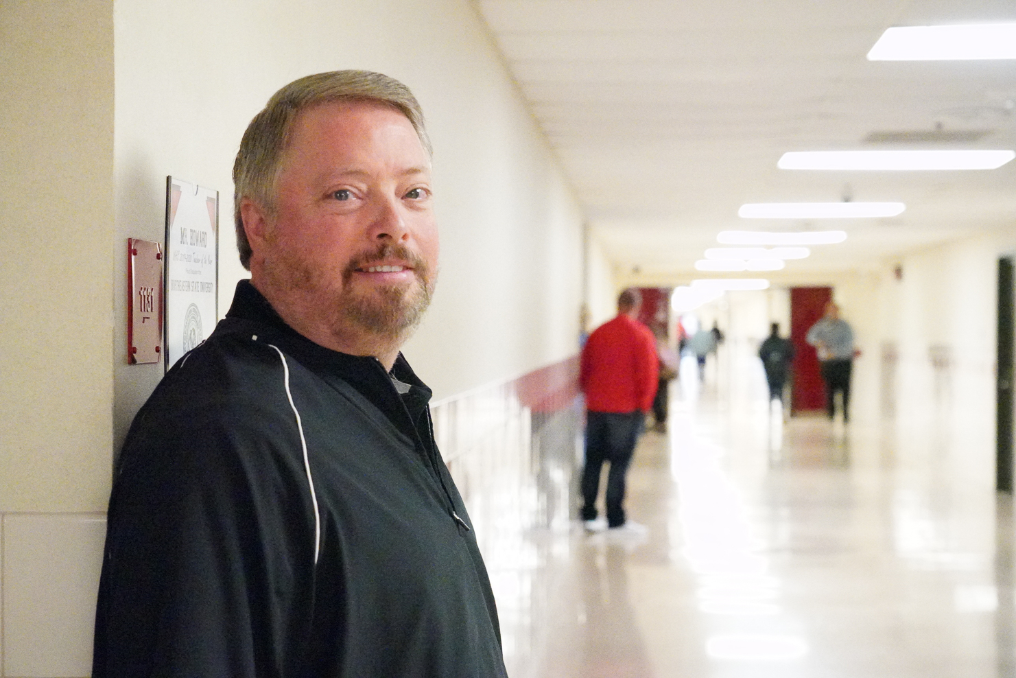 """High School – Glenn Howard, Business Business teacher Glenn Howard has been named the Union High School Teacher of the Year for 2019-2020. Howard has taught a total of 32 years, beginning his Union career during the 1993-1994 school year (27 years!). """"From a young age, I discovered that the closest relationships I had in school were with my teachers,"""" Howard said. """"I felt I could go to them for good advice if I had a problem. They were some of the most passionate and caring people that I have known and I saw how lives could be transformed by a caring teacher.  If I became a teacher, I felt there would be more opportunities for me to form relationships with young people and wanted to be the person that young people could turn to when they needed advise.  My entire educational career has been touched by my colleagues. I feel that I am living a legacy, walking the path that these educators have laid down before me.  Therefore, I wanted to be an educator, an example, a mentor and confidant, to make a difference in the lives of as many students and teachers as possible.  I estimate that I have directly impacted over 6000 students and through mentoring teachers, indirectly impacted thousands more students during my 32 year career. I feel I am making a difference and honored to be considered one of the best by my colleagues, an effective teacher.  What a legacy to continue!"""" Howard said he enjoys teaching technology. """"I enjoy teaching technology courses because I am fascinated by our rapidly changing digital age.  I feel there is no better reward than witnessing student engagement with technology and excitement as they grasp a concept for the first time.  After reading, writing and arithmetic, it is vital for students to have a strong digital foundation in the current job market.  Therefore, I am highly motivated to share the emerging technologies of today's digital age that are vital to student's success during college and career. """"  Educational Background: •Associates de"""