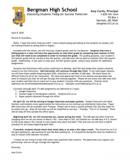 AMI Parent Letter