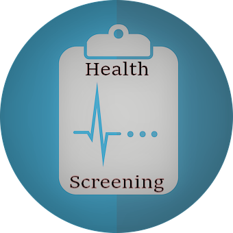 Health Screening text with clipboard image