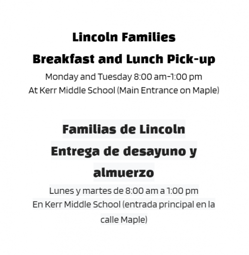 Lincoln Families - Breakfast and Lunch Pick-Up