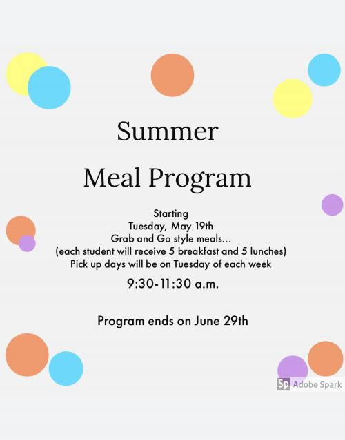 grab and go meals every tuesday during summer until June 16