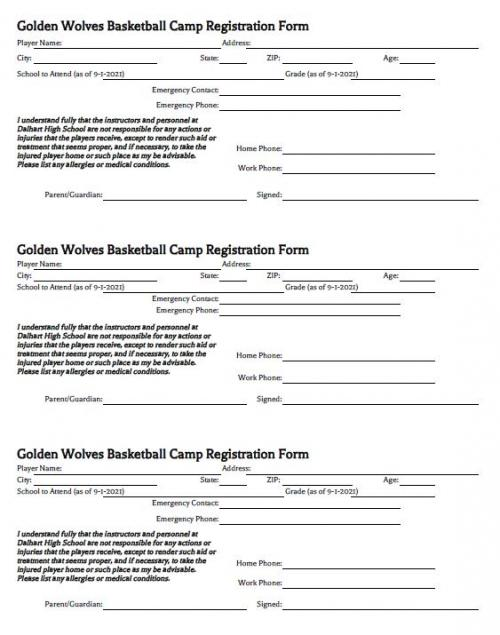 GWBB CAMP REGISTRATION FORM