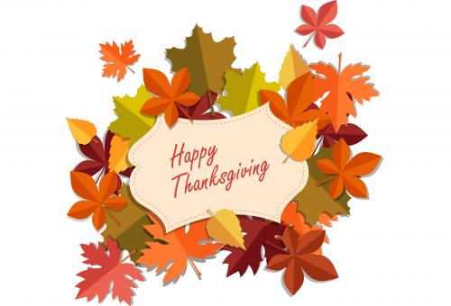 Happy Thanksgiving with fall foliage graphic
